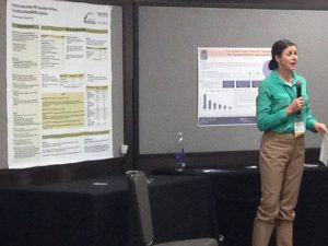 "Catherine Ipsen presenting her poster ""Factors Associated with Premature Exit from Vocational Rehabilitation Services"" at the Association of University Centers on Disabilities (AUCD) 2016 conference in Washington DC."