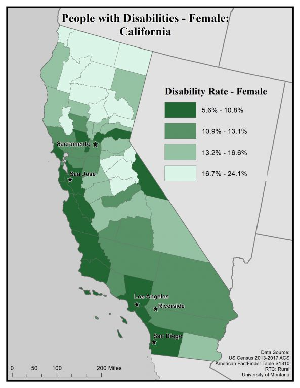 Map of California showing rates of females with disabilities. See California State Profile page for full text description.