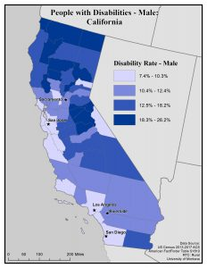 Map of California showing rates of males with disabilities by county. See California State Profile page for full text description.