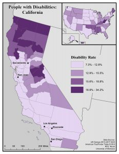 This map of California shows general disability rates by county. See page for full text description.