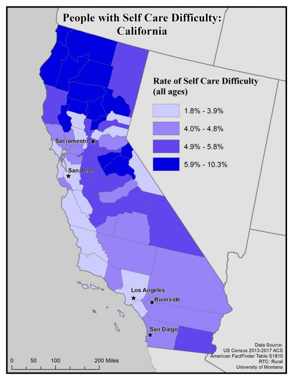 Map of California showing rates of people with self care difficulty by county. See California State Profile page for full text description.