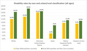 A bar chart comparing disability rates by race and urban/rural classification.