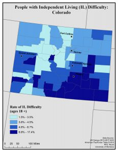 Map of Colorado showing rates of people with IL difficulty. See CO State Profile page for full text description.