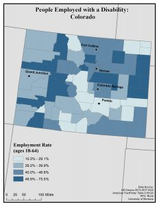 Map of Colorado showing rates of people with disabilities who are employed. See Colorado State Profile page for full text description.