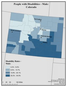 Map of Colorado showing disability rates among males by county. See Colorado State Profile page for full text description.