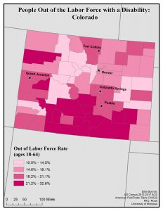 Map of Colorado showing rates of people with disabilities who are out of the labor force. See Colorado State Profile page for full text description.