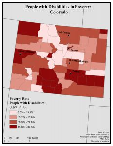 Map of Colorado showing rates of people with disabilities in poverty. See Colorado State Profile page for full text description.