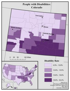 Map of Colorado showing general disability rate by county. See page for full text description.