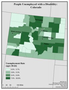 Map of Colorado showing rates of people with disabilities who are unemployed. See Colorado State Profile page for full text description.