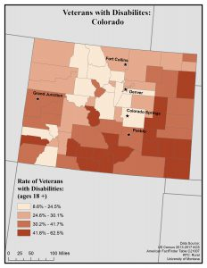 Map of Colorado showing rates of veterans with disabilities by county. See Colorado State Profile page for full text description.