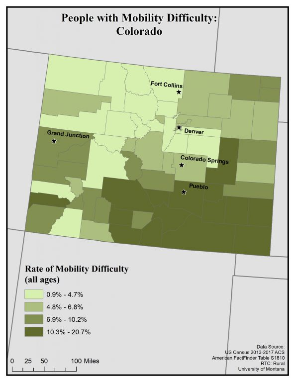 Map of Colorado showing rates of mobility difficulty by county. See Colorado State Profile page for full text description.