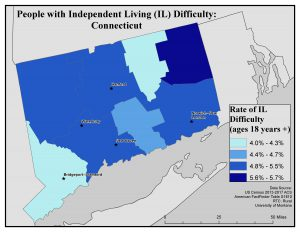 Map of CT showing rates of people with IL difficulty by county. See CT State Profile page for text description.