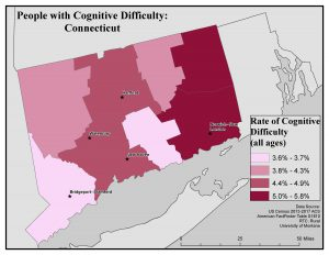 Map of CT showing rates of people with cognitive difficulty by county. See CT State Profile page for text description.
