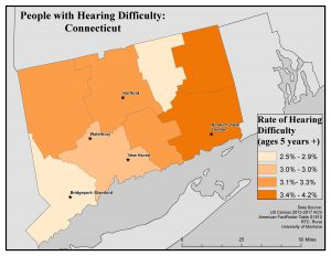Map of CT showing rates of people with hearing difficulty by county. See CT State Profile page for text description.