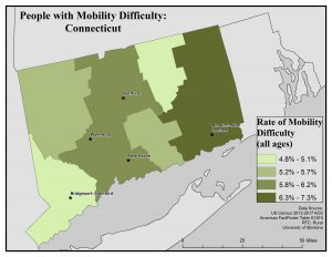 Map of CT showing rates of people with mobility difficulty by county. See CT State Profile page for text description.