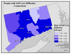 Map of CT showing rates of people with self care difficulty by county. See CT State Profile page for text description.