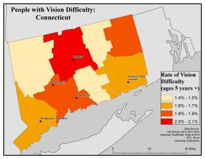 Map of CT showing rates of people with vision difficulty by county. See CT State Profile page for text description.