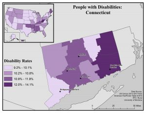 Map of Connecticut showing disability rates by county. Full text description on map profile page.