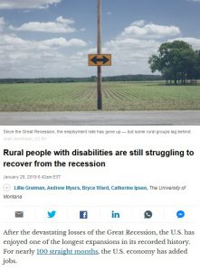 "Screenshot of the article from The Conversation website. ""Rural people with disabilities are still struggling to recover from the recession."""