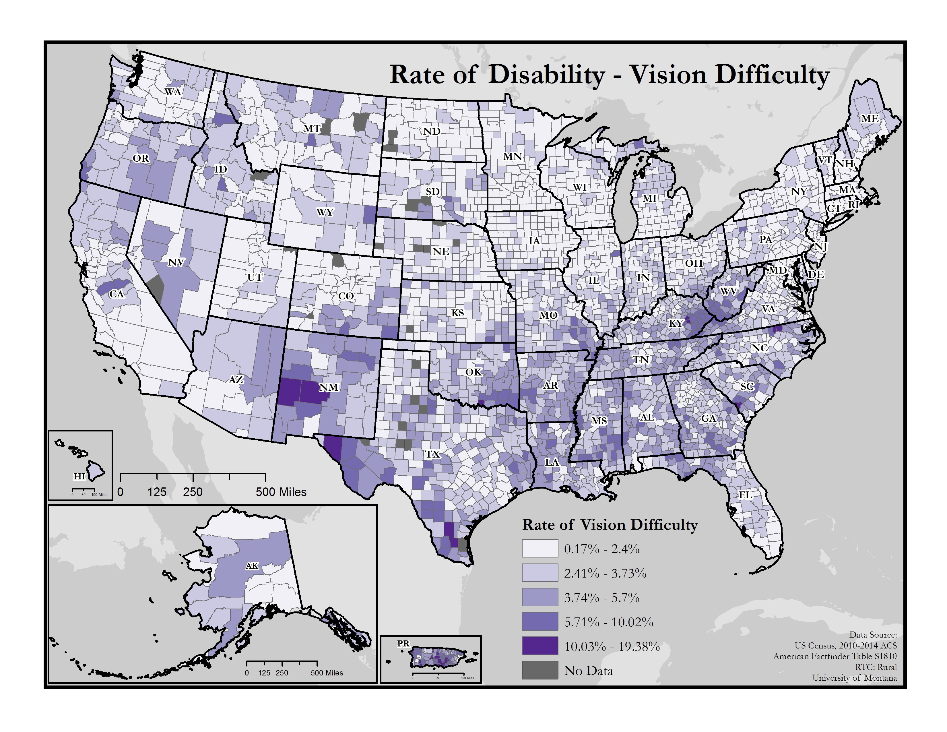 This is a map of the United States which depicts rates of vision difficulty by county.