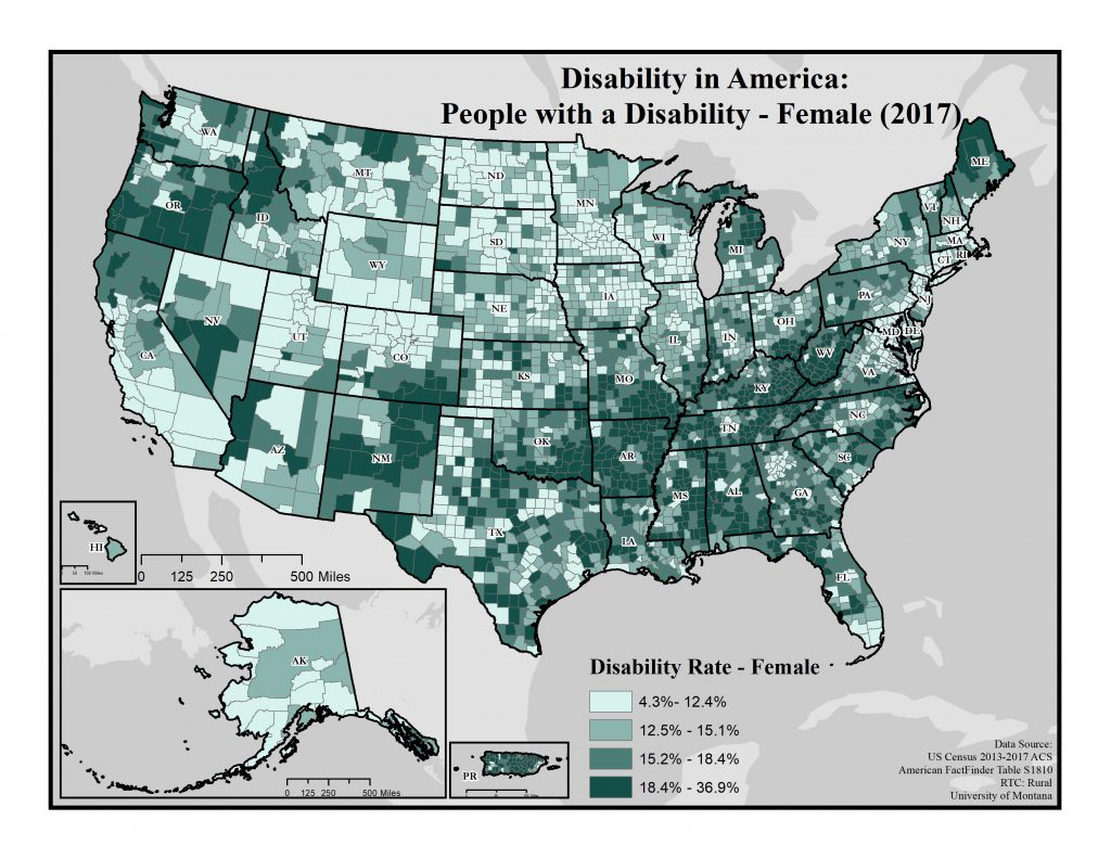 map of disability rates across America by county for females (2017).