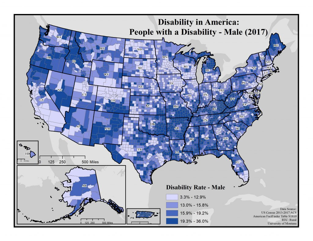 Map of disability rates for males by county across America. 2017 data.