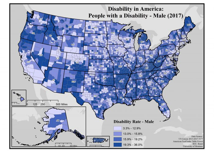 Map Of America 2017.Disability Rates By Sex Disability In America Map Series Rtc Rural