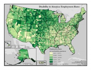 This is a map of the United States which depicts employment rates among people with disabilities by county. A text description of this map is included in the webpage content.