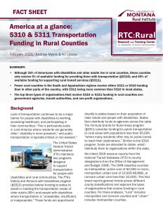 First page of America at a glance: 5310 & 5311 transportation funding in rural counties fact sheet.