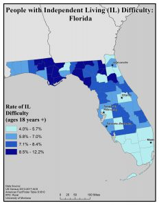 Map of Florida showing rates of people with IL difficulty by county. See Florida State Profile page for full text description.