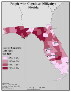 Map of Florida showing rates of people with cognitive difficulty by county. See Florida State Profile page for full text description.