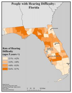 Map of Florida showing rates of people with hearing difficulty by county. See Florida State Profile page for full text description.