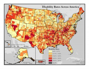 This map of the United States shows general rates of disability by county. A text description of this map is included in the webpage content.
