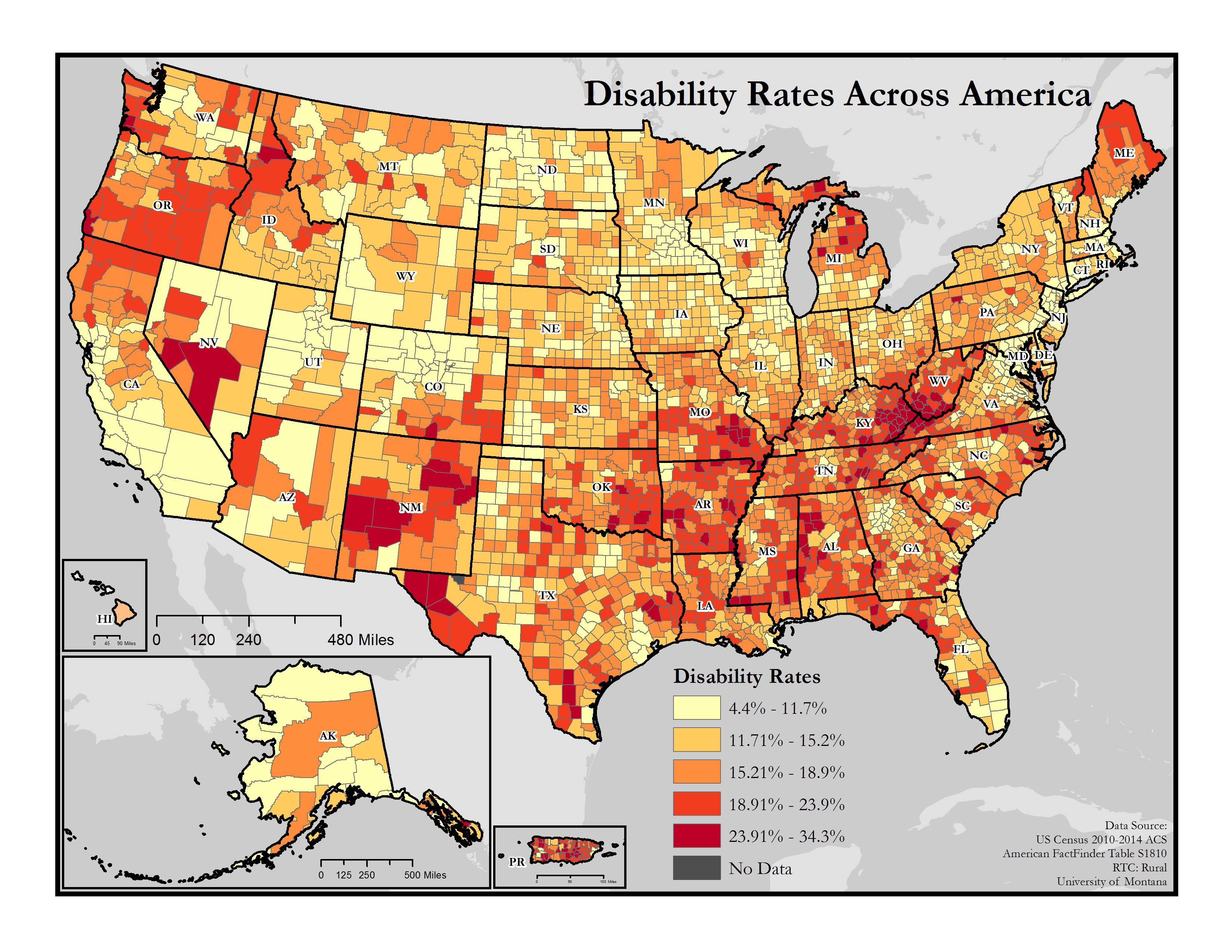 Map of the United States showing general rates of disability by county, long description in webpage content below the map.