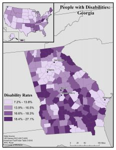 Map of Georgia showing rates of people with disabilities by county. Text description on page.