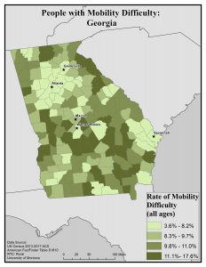Map of Georgia showing rates of people with mobility difficulty by county. See Georgia State Profile page for full text description.