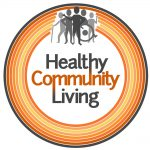 Healthy Community Living logo - orange circles grey people