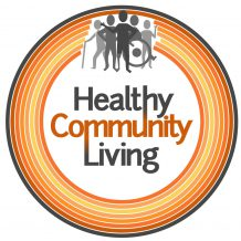 Healthy Community logo- a cirlce of orange lines with 'Healthy Community Living' in the center, and five people icons above. The people have different physical disabilities.