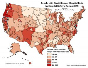 Map of the US showing people with disabilities per hospital bed by hospital referral region. Full text description in linked blog post.