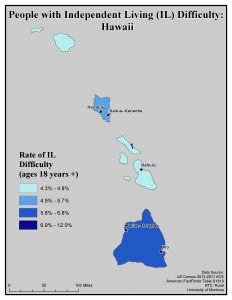 Map of HI showing rates of people with IL difficulty. See HI State Profile page for text description.