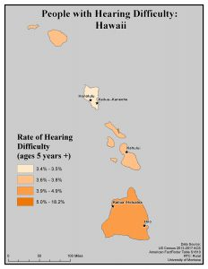 Map of HI showing rates of people with hearing difficulty. See HI State Profile page for text description.