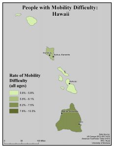 Map of HI showing rates of people with mobility difficulty. See HI State Profile page for text description.