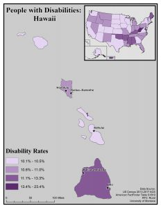 Map of Hawaii showing disability rates by county. See Hawaii State Profile page for full text description.