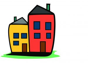 A drawing of two cartoon houses.