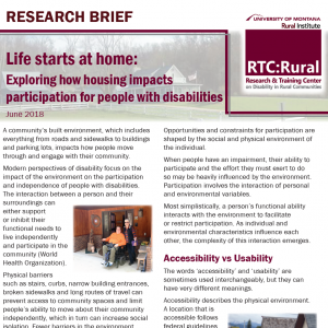 "Screen shot of the cover of the research brief ""Life starts at home: exploring how housing impacts participation for people with disabilities."""