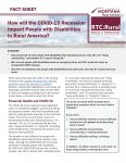 front page of fact sheet: how will the COVID-19 recession impact people with disabilities in rural America?