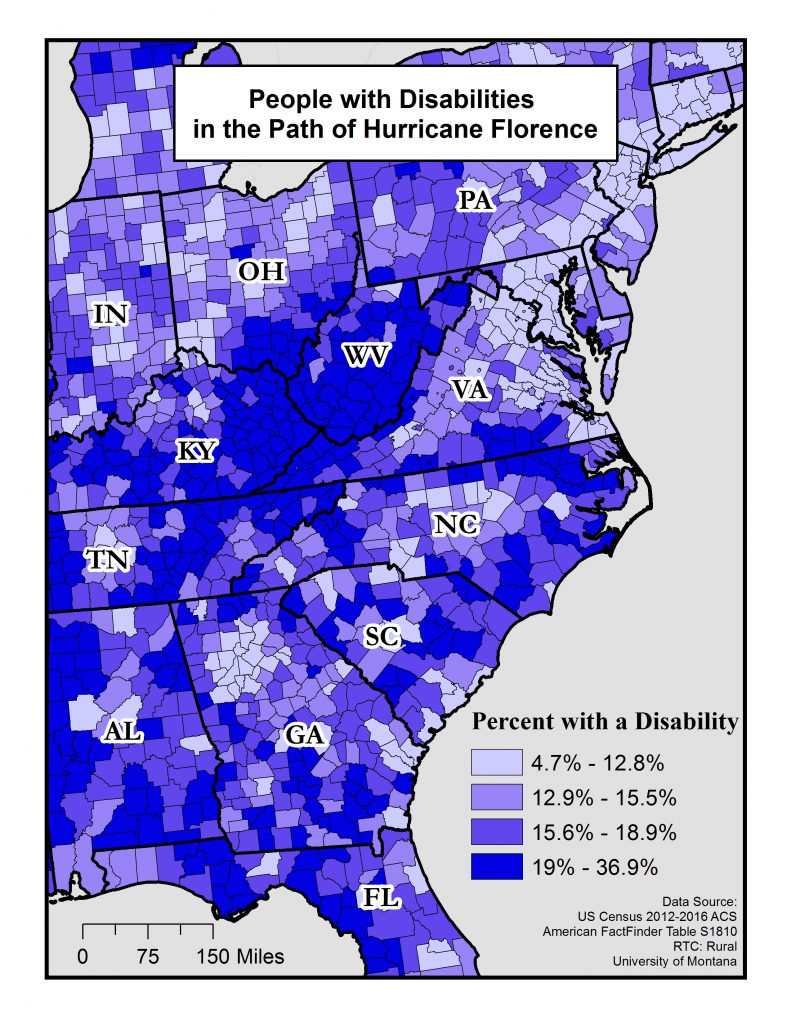 This map shows the percent of people with disabilities by county in the path of Hurricane Florence. See below for a text description.
