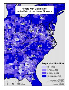The map shows the number of people with disabilities in the path of Hurricane Florence. See below for a text description.