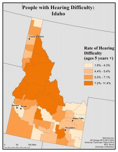 Map of Idaho showing rates of people with hearing difficulty by county. See Idaho State Map profile page for full text description.
