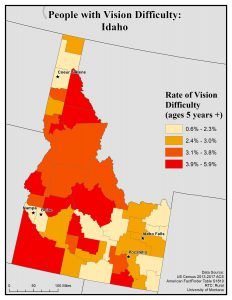Map of Idaho showing rates of people with vision difficulty by county. See Idaho State Map profile page for full text description.